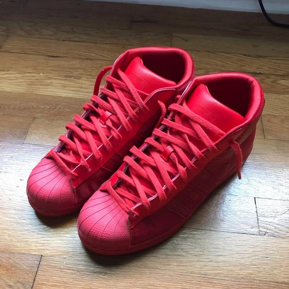 Red Adidas Superstar High Tops | Poshmark